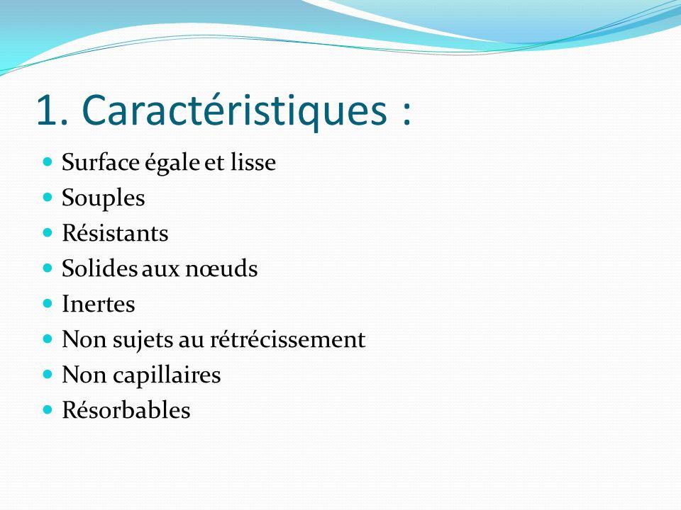 1. Caractéristiques : Surface égale et lisse Souples Résistants Solides aux nœuds Inertes Non sujets au rétrécissement Non capillaires Résorbables