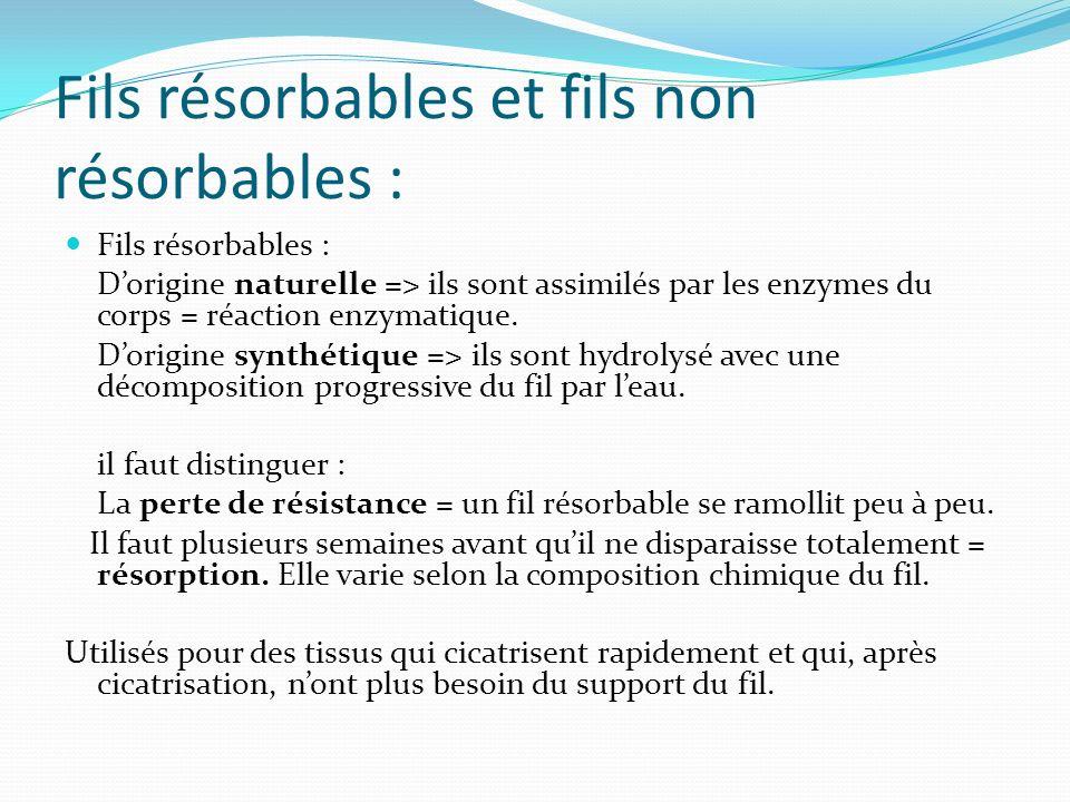 Fils résorbables et fils non résorbables : Fils résorbables : Dorigine naturelle => ils sont assimilés par les enzymes du corps = réaction enzymatique.