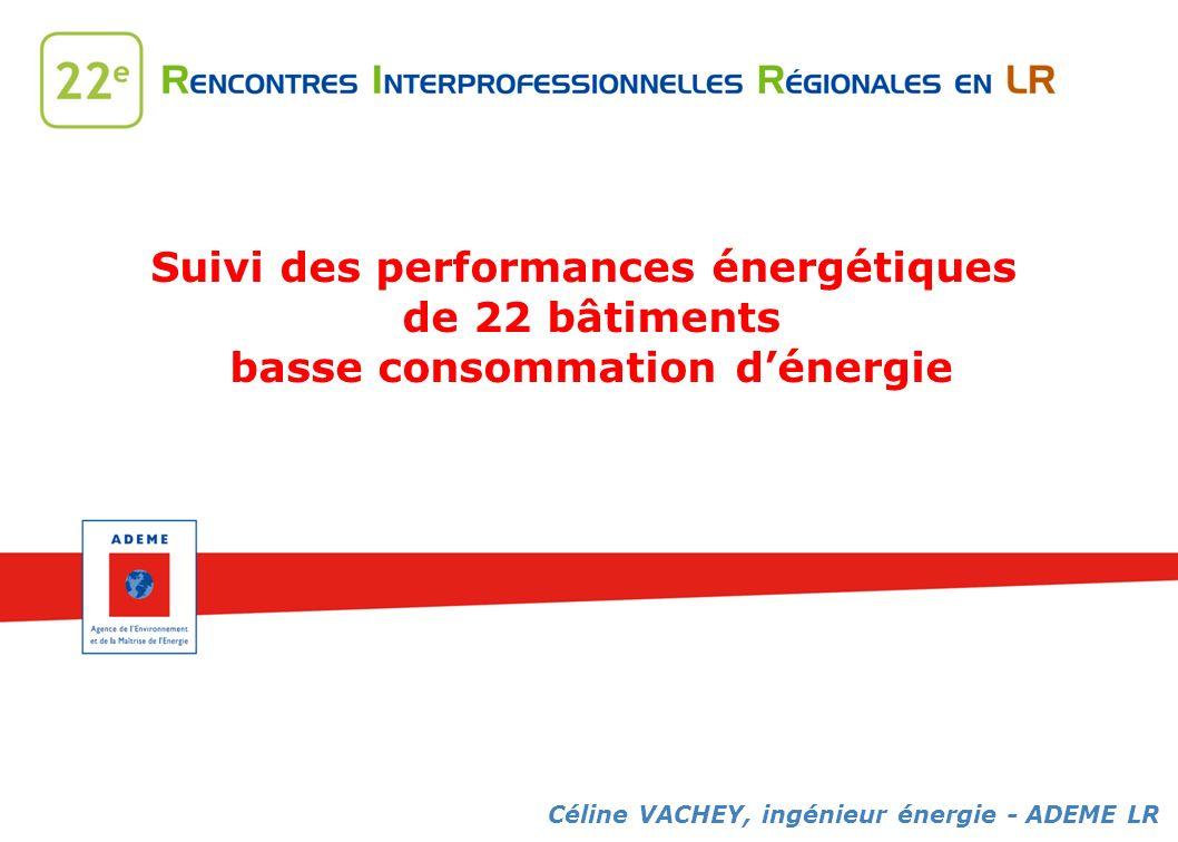 Suivi des performances énergétiques de 22 bâtiments basse consommation dénergie Céline VACHEY, ingénieur énergie - ADEME LR