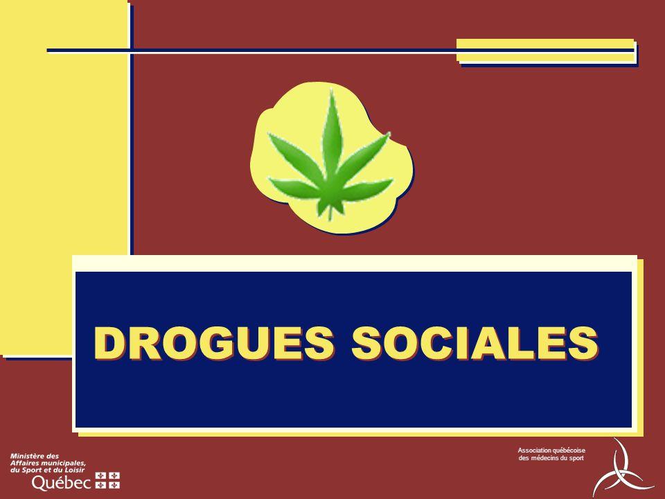 Association québécoise des médecins du sport DROGUES SOCIALES CLASSIFICATION Perturbateurs / hallucinogènes Dépresseurs du SNC Stimulants