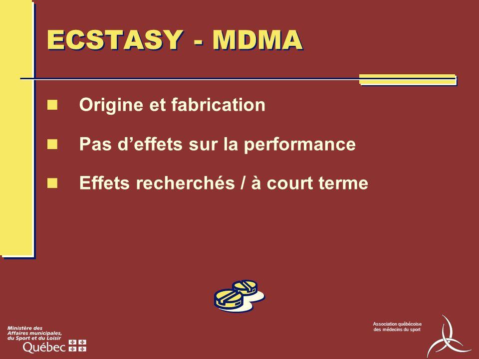 Association québécoise des médecins du sport ECSTASY - MDMA Origine et fabrication Pas deffets sur la performance Effets recherchés / à court terme