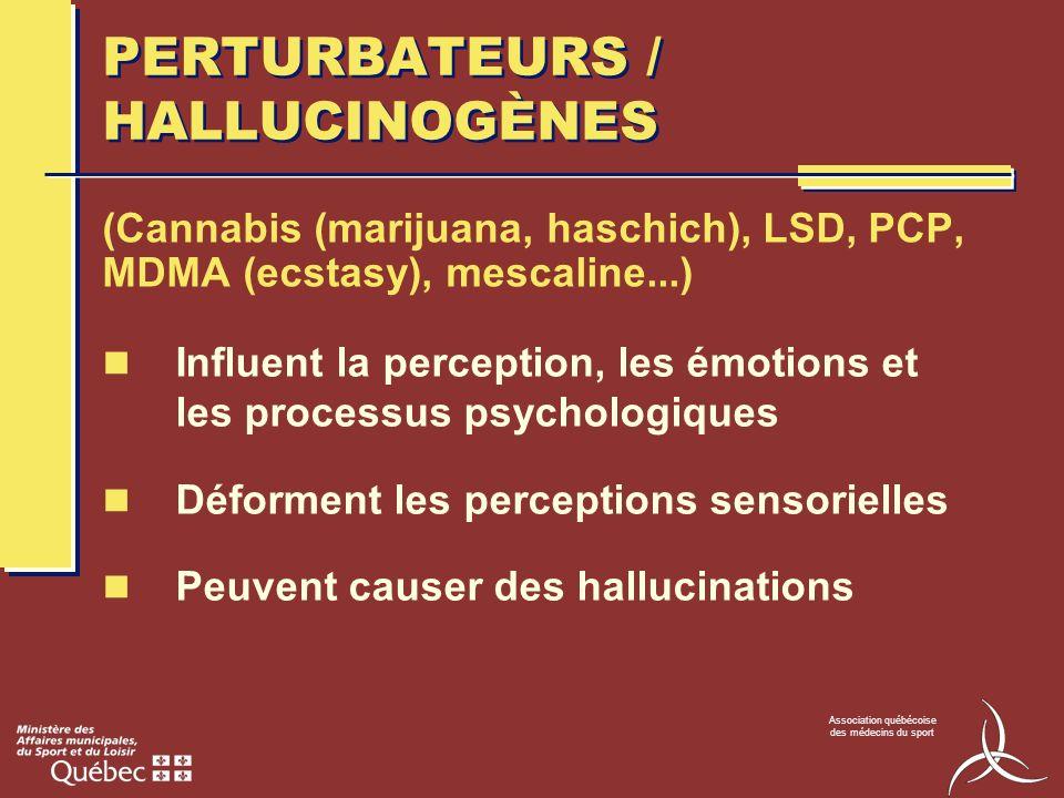 Association québécoise des médecins du sport DÉPRESSEURS DU SNC Ralentissent le SNC Sensation de calme, bien-être (Alcool, analgésiques opioïdes, anxiolytiques, barbituriques)