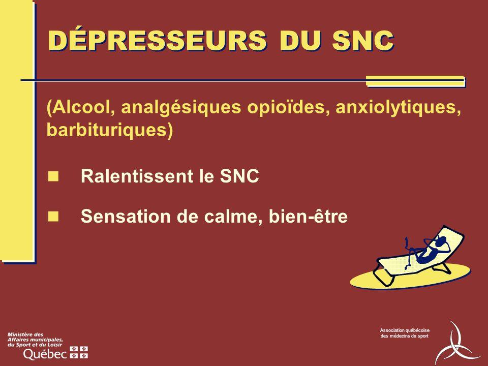 Association québécoise des médecins du sport DÉPRESSEURS DU SNC Ralentissent le SNC Sensation de calme, bien-être (Alcool, analgésiques opioïdes, anxi