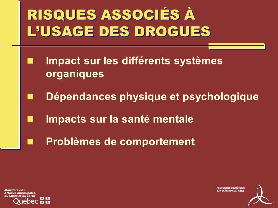 Association québécoise des médecins du sport RISQUES ASSOCIÉS À LUSAGE DES DROGUES Impact sur les différents systèmes organiques Dépendances physique