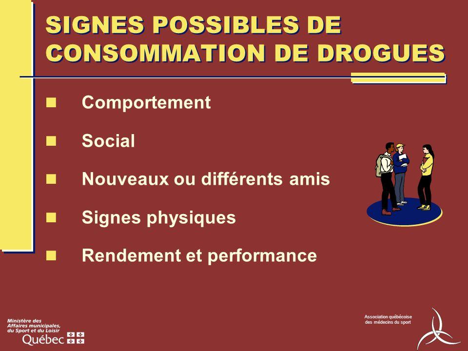 Association québécoise des médecins du sport SIGNES POSSIBLES DE CONSOMMATION DE DROGUES Comportement Social Nouveaux ou différents amis Signes physiq