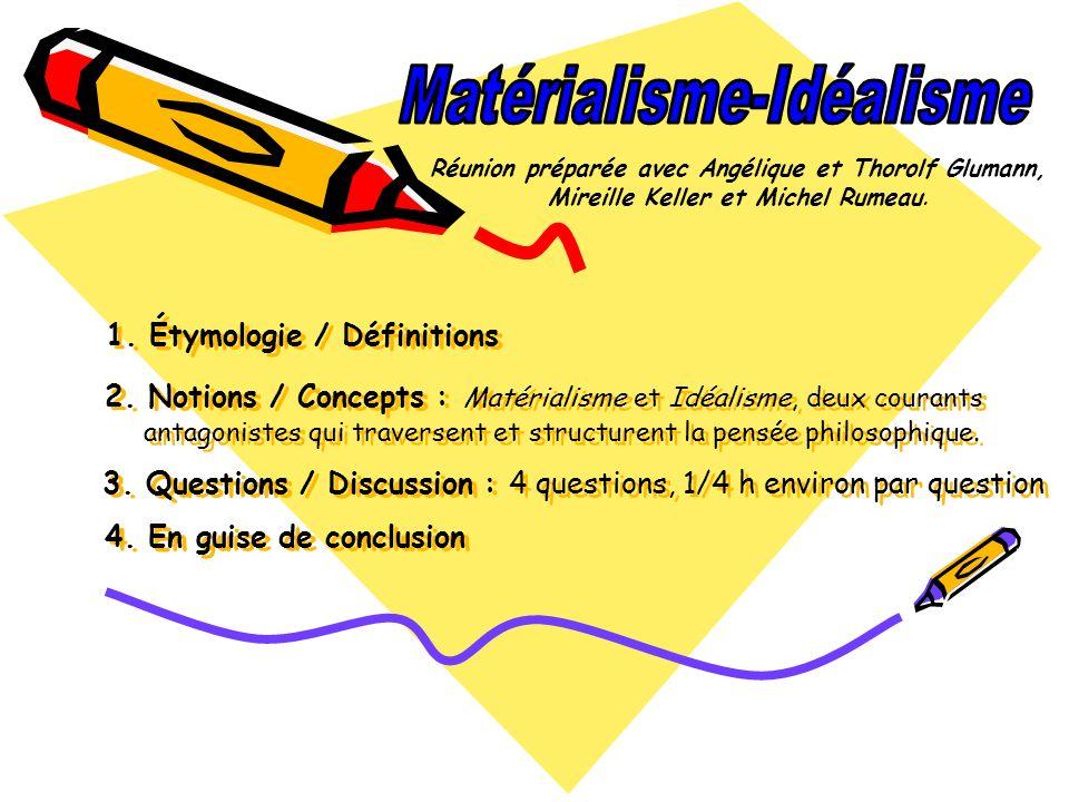 1. Étymologie / Définitions 2. Notions / Concepts : Matérialisme et Idéalisme, deux courants antagonistes qui traversent et structurent la pensée phil