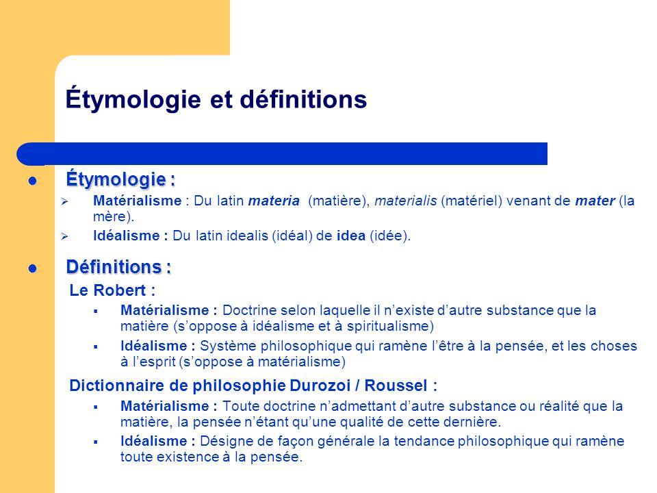 Étymologie et définitions Étymologie : Étymologie : Matérialisme : Du latin materia (matière), materialis (matériel) venant de mater (la mère). Idéali