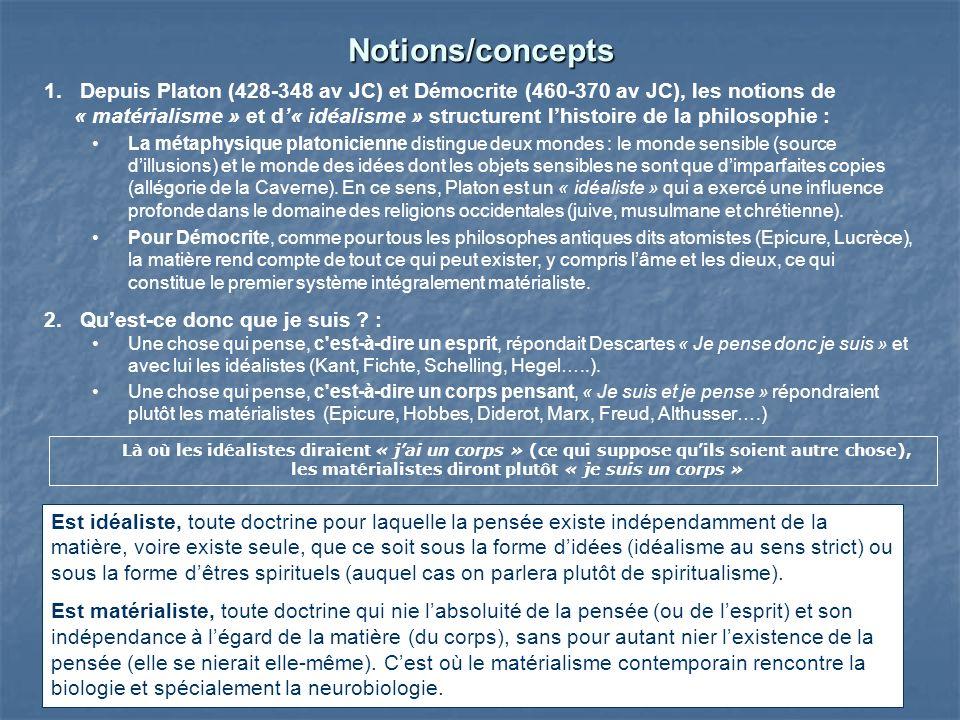 Notions/concepts 1.Depuis Platon (428-348 av JC) et Démocrite (460-370 av JC), les notions de « matérialisme » et d« idéalisme » structurent lhistoire