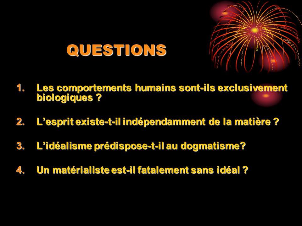 QUESTIONS 1.Les comportements humains sont-ils exclusivement biologiques ? 2.Lesprit existe-t-il indépendamment de la matière ? 3.Lidéalisme prédispos