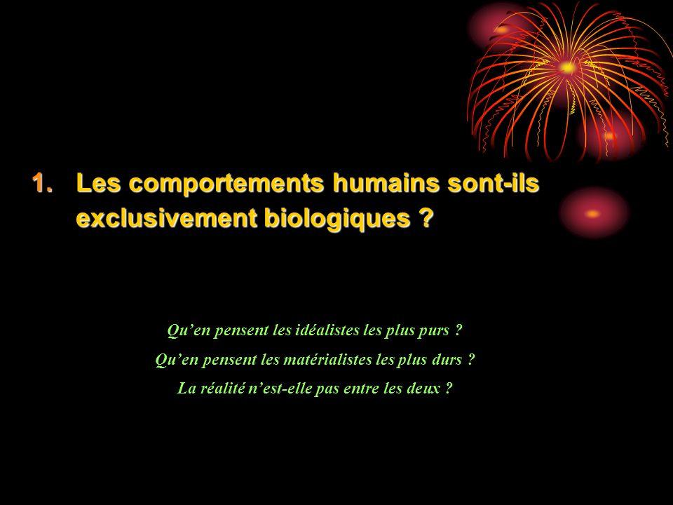1.Les comportements humains sont-ils exclusivement biologiques ? Quen pensent les idéalistes les plus purs ? Quen pensent les matérialistes les plus d