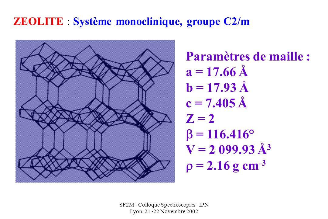 SF2M - Colloque Spectroscopies - IPN Lyon, 21 -22 Novembre 2002 ZEOLITE : Système monoclinique, groupe C2/m Paramètres de maille : a = 17.66 Å b = 17.93 Å c = 7.405 Å Z = 2 = 116.416° V = 2 099.93 Å 3 = 2.16 g cm -3