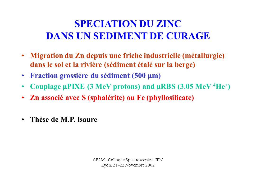SF2M - Colloque Spectroscopies - IPN Lyon, 21 -22 Novembre 2002 SPECIATION DU ZINC DANS UN SEDIMENT DE CURAGE Migration du Zn depuis une friche industrielle (métallurgie) dans le sol et la rivière (sédiment étalé sur la berge) Fraction grossière du sédiment (500 µm) Couplage µPIXE (3 MeV protons) and µRBS (3.05 MeV 4 He + ) Zn associé avec S (sphalérite) ou Fe (phyllosilicate) Thèse de M.P.