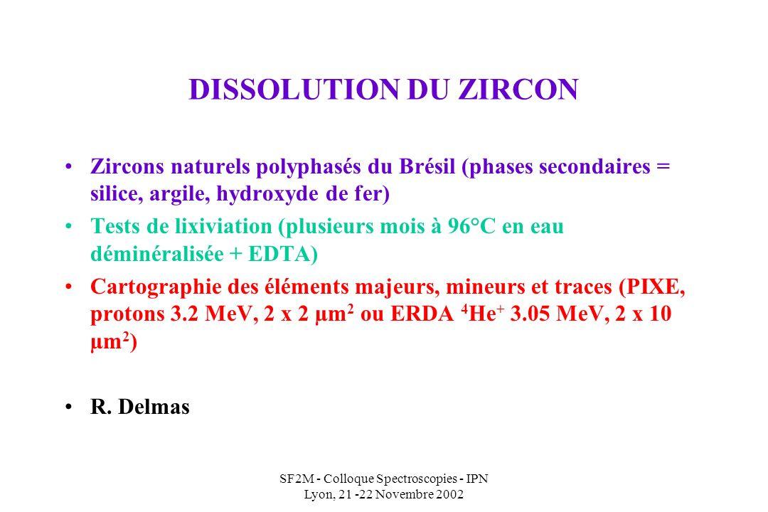 SF2M - Colloque Spectroscopies - IPN Lyon, 21 -22 Novembre 2002 DISSOLUTION DU ZIRCON Zircons naturels polyphasés du Brésil (phases secondaires = silice, argile, hydroxyde de fer) Tests de lixiviation (plusieurs mois à 96°C en eau déminéralisée + EDTA) Cartographie des éléments majeurs, mineurs et traces (PIXE, protons 3.2 MeV, 2 x 2 µm 2 ou ERDA 4 He + 3.05 MeV, 2 x 10 µm 2 ) R.