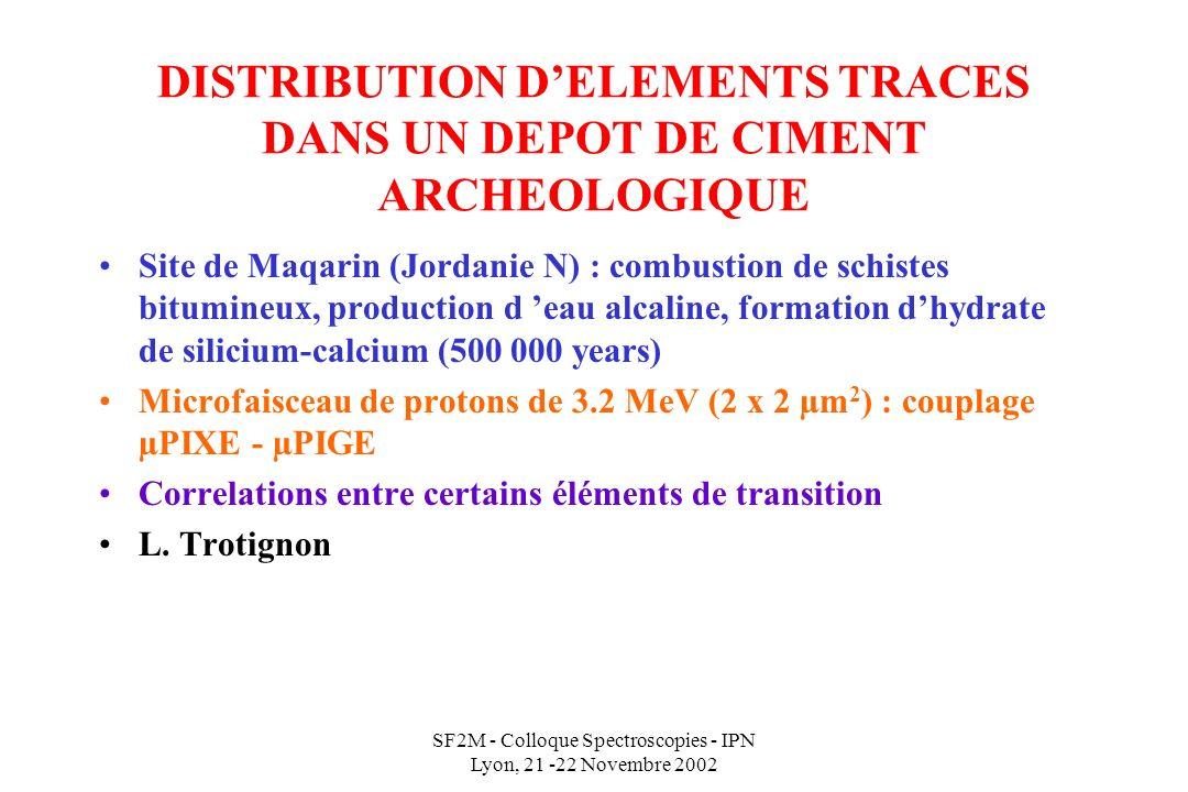SF2M - Colloque Spectroscopies - IPN Lyon, 21 -22 Novembre 2002 DISTRIBUTION DELEMENTS TRACES DANS UN DEPOT DE CIMENT ARCHEOLOGIQUE Site de Maqarin (Jordanie N) : combustion de schistes bitumineux, production d eau alcaline, formation dhydrate de silicium-calcium (500 000 years) Microfaisceau de protons de 3.2 MeV (2 x 2 µm 2 ) : couplage µPIXE - µPIGE Correlations entre certains éléments de transition L.