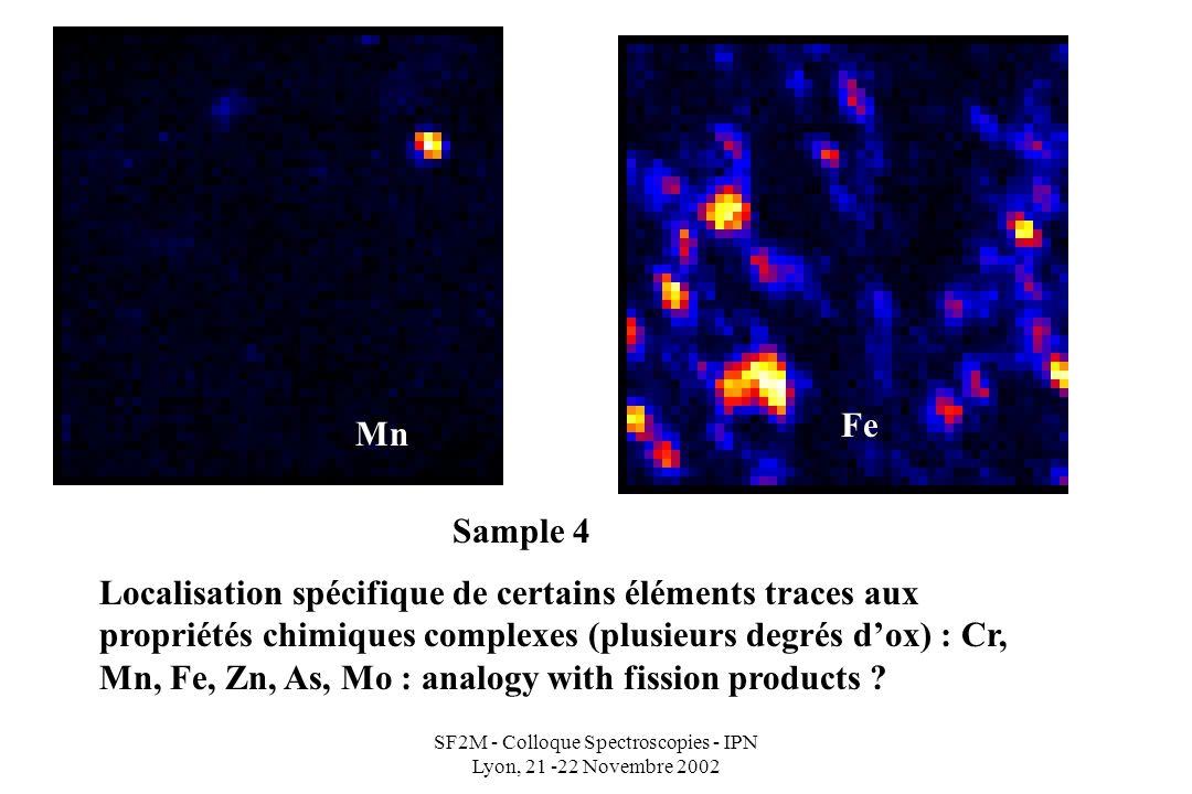 SF2M - Colloque Spectroscopies - IPN Lyon, 21 -22 Novembre 2002 Mn Fe Localisation spécifique de certains éléments traces aux propriétés chimiques complexes (plusieurs degrés dox) : Cr, Mn, Fe, Zn, As, Mo : analogy with fission products .