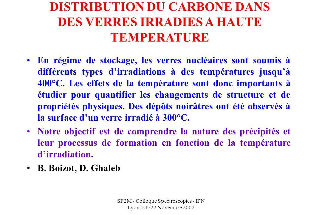 SF2M - Colloque Spectroscopies - IPN Lyon, 21 -22 Novembre 2002 DISTRIBUTION DU CARBONE DANS DES VERRES IRRADIES A HAUTE TEMPERATURE En régime de stockage, les verres nucléaires sont soumis à différents types dirradiations à des températures jusquà 400°C.