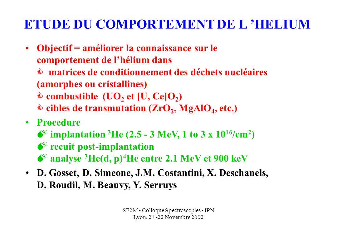 SF2M - Colloque Spectroscopies - IPN Lyon, 21 -22 Novembre 2002 ETUDE DU COMPORTEMENT DE L HELIUM Objectif = améliorer la connaissance sur le comportement de lhélium dans matrices de conditionnement des déchets nucléaires (amorphes ou cristallines) combustible (UO 2 et [U, Ce]O 2 ) cibles de transmutation (ZrO 2, MgAlO 4, etc.) Procedure implantation 3 He (2.5 - 3 MeV, 1 to 3 x 10 16 /cm 2 ) recuit post-implantation analyse 3 He(d, p) 4 He entre 2.1 MeV et 900 keV D.