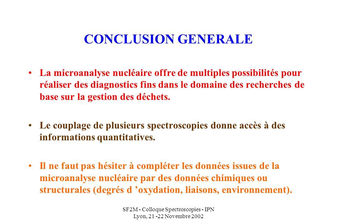 SF2M - Colloque Spectroscopies - IPN Lyon, 21 -22 Novembre 2002 CONCLUSION GENERALE La microanalyse nucléaire offre de multiples possibilités pour réaliser des diagnostics fins dans le domaine des recherches de base sur la gestion des déchets.
