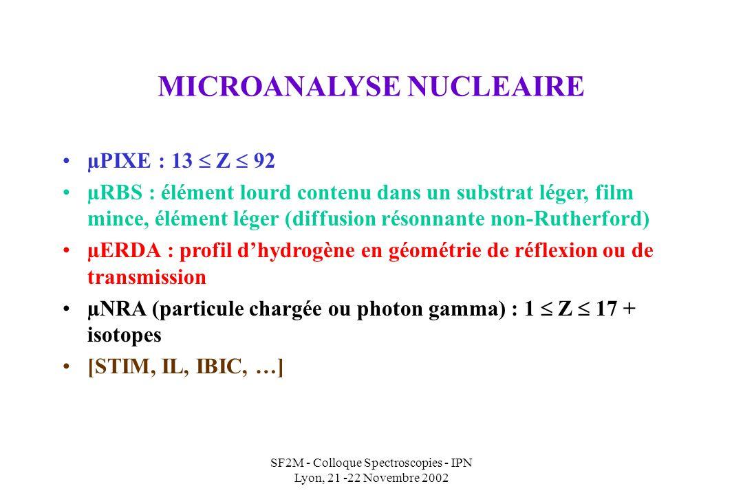 SF2M - Colloque Spectroscopies - IPN Lyon, 21 -22 Novembre 2002 MICROANALYSE NUCLEAIRE µPIXE : 13 Z 92 µRBS : élément lourd contenu dans un substrat léger, film mince, élément léger (diffusion résonnante non-Rutherford) µERDA : profil dhydrogène en géométrie de réflexion ou de transmission µNRA (particule chargée ou photon gamma) : 1 Z 17 + isotopes [STIM, IL, IBIC, …]