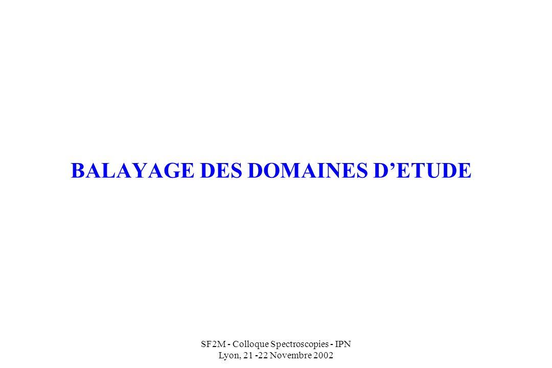 SF2M - Colloque Spectroscopies - IPN Lyon, 21 -22 Novembre 2002 BALAYAGE DES DOMAINES DETUDE