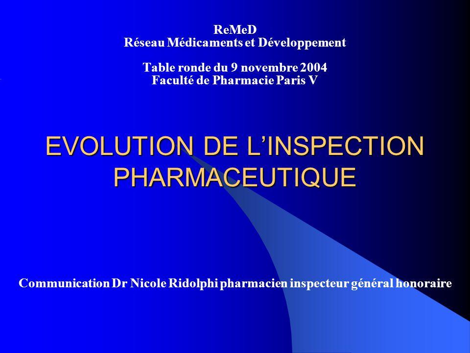 EVOLUTION DE LINSPECTION PHARMACEUTIQUE ReMeD Réseau Médicaments et Développement Table ronde du 9 novembre 2004 Faculté de Pharmacie Paris V Communication Dr Nicole Ridolphi pharmacien inspecteur général honoraire