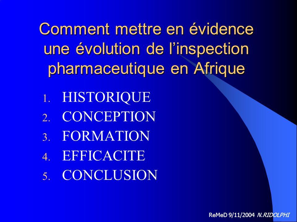 ReMeD 9/11/2004 N.RIDOLPHI Comment mettre en évidence une évolution de linspection pharmaceutique en Afrique 1.