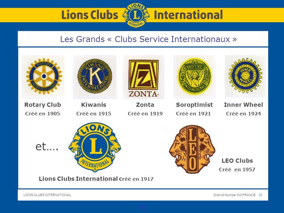 LIONS CLUBS INTERNATIONALDistrict Multiple 103 FRANCE 10 Les Grands « Clubs Service Internationaux » 10 Rotary Club Créé en 1905 Kiwanis Créé en 1915 Inner Wheel Créé en 1924 Soroptimist Créé en 1921 Zonta Créé en 1919 et….