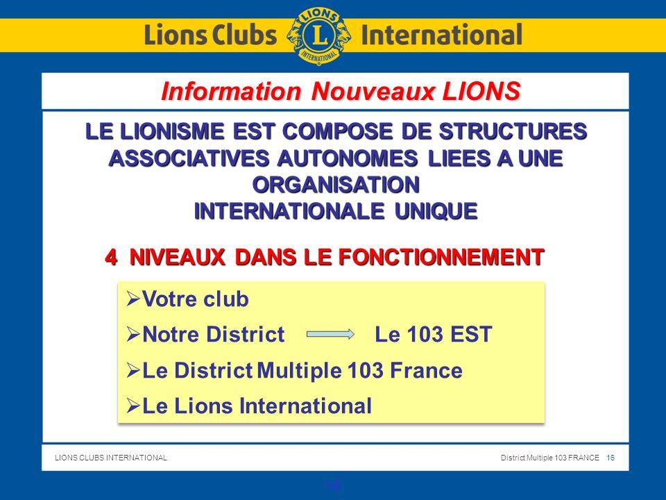 LIONS CLUBS INTERNATIONALDistrict Multiple 103 FRANCE 16 16 LE LIONISME EST COMPOSE DE STRUCTURES ASSOCIATIVES AUTONOMES LIEES A UNE ORGANISATION INTERNATIONALE UNIQUE 4 NIVEAUX DANS LE FONCTIONNEMENT Votre club Notre District Le 103 EST Le District Multiple 103 France Le Lions International Votre club Notre District Le 103 EST Le District Multiple 103 France Le Lions International Information Nouveaux LIONS