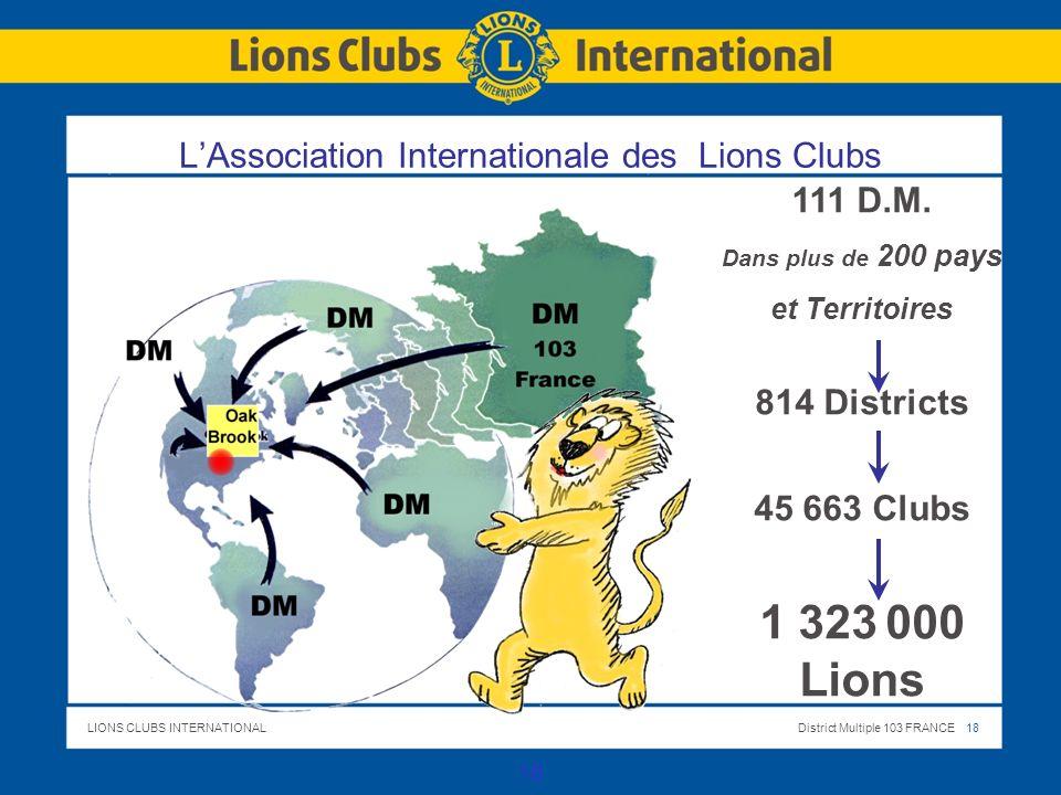 LIONS CLUBS INTERNATIONALDistrict Multiple 103 FRANCE 18 18 LAssociation Internationale des Lions Clubs 111 D.M. Dans plus de 200 pays et Territoires