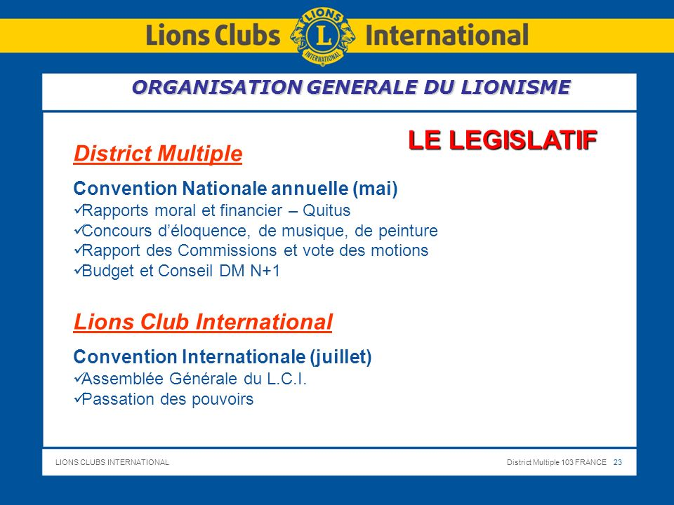 LIONS CLUBS INTERNATIONALDistrict Multiple 103 FRANCE 24 24 LE CONSULTATIF LIONS INTERNATIONAL COMMISSIONS STATUTAIRES DISTRICTMULTIPLE GROUPES DE TRAVAIL.
