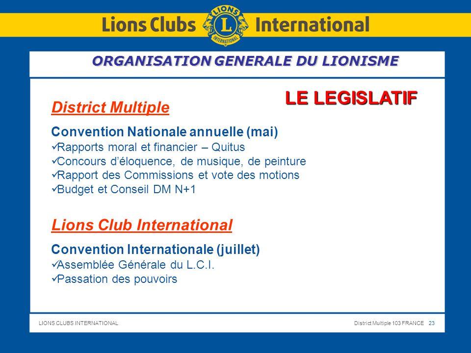 LIONS CLUBS INTERNATIONALDistrict Multiple 103 FRANCE 23 LE LEGISLATIF District Multiple Convention Nationale annuelle (mai) Rapports moral et financi