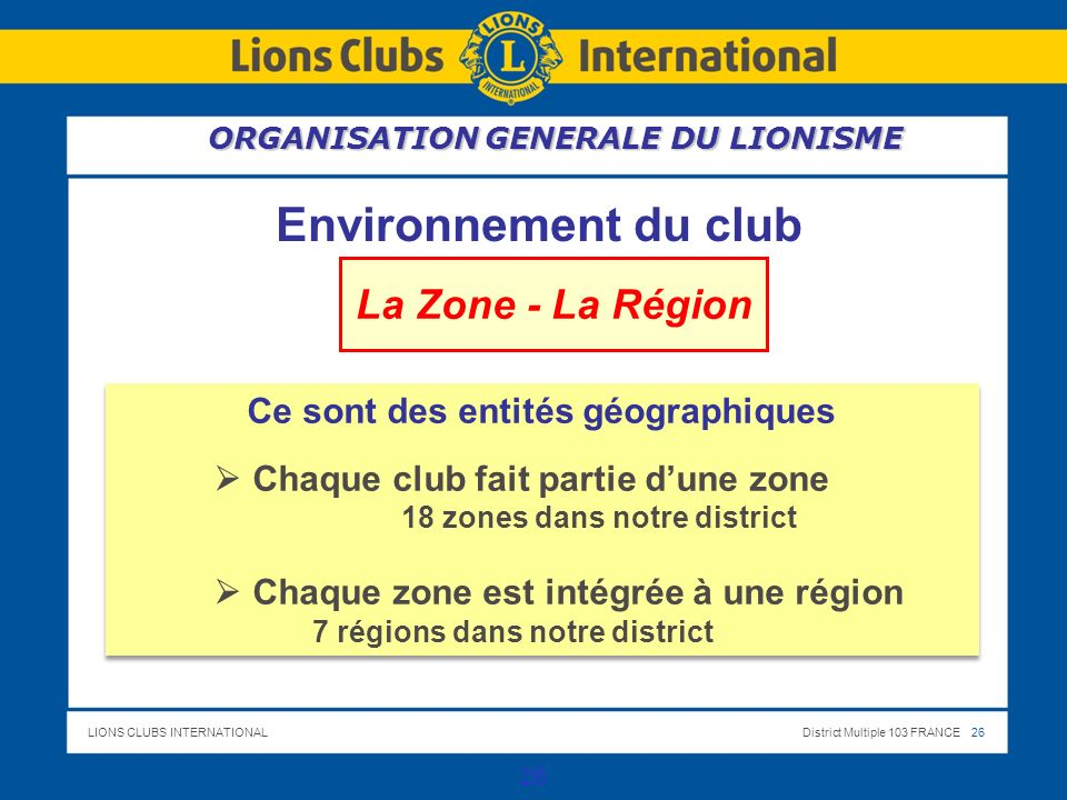 LIONS CLUBS INTERNATIONALDistrict Multiple 103 FRANCE 26 26 Environnement du club La Zone - La Région Ce sont des entités géographiques Chaque club fait partie dune zone 18 zones dans notre district Chaque zone est intégrée à une région 7 régions dans notre district Ce sont des entités géographiques Chaque club fait partie dune zone 18 zones dans notre district Chaque zone est intégrée à une région 7 régions dans notre district ORGANISATION GENERALE DU LIONISME