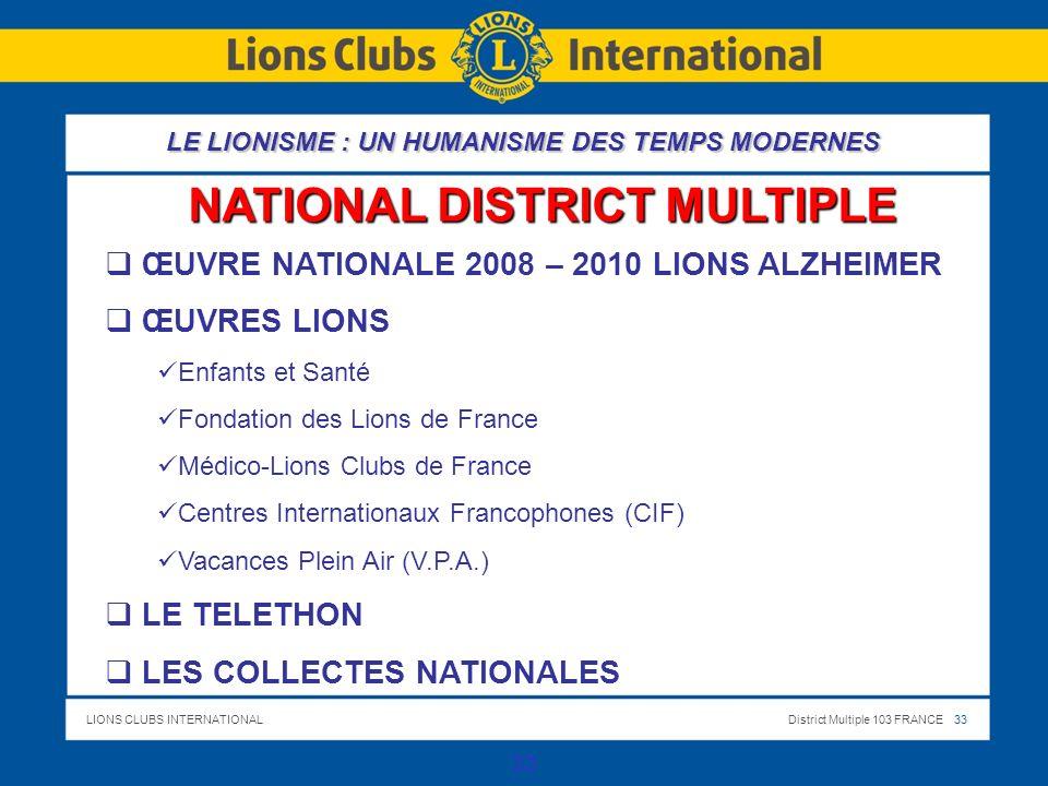 LIONS CLUBS INTERNATIONALDistrict Multiple 103 FRANCE 33 33 NATIONAL DISTRICT MULTIPLE ŒUVRE NATIONALE 2008 – 2010 LIONS ALZHEIMER ŒUVRES LIONS Enfants et Santé Fondation des Lions de France Médico-Lions Clubs de France Centres Internationaux Francophones (CIF) Vacances Plein Air (V.P.A.) LE TELETHON LES COLLECTES NATIONALES LE LIONISME : UN HUMANISME DES TEMPS MODERNES