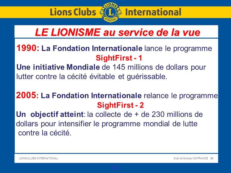 LIONS CLUBS INTERNATIONALDistrict Multiple 103 FRANCE 36 1990: La Fondation Internationale lance le programme SightFirst - 1 Une initiative Mondiale de 145 millions de dollars pour lutter contre la cécité évitable et guérissable.