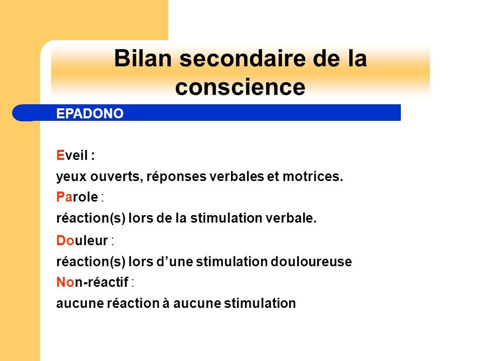 Bilan secondaire de la conscience Eveil : yeux ouverts, réponses verbales et motrices. Parole : réaction(s) lors de la stimulation verbale. Douleur :