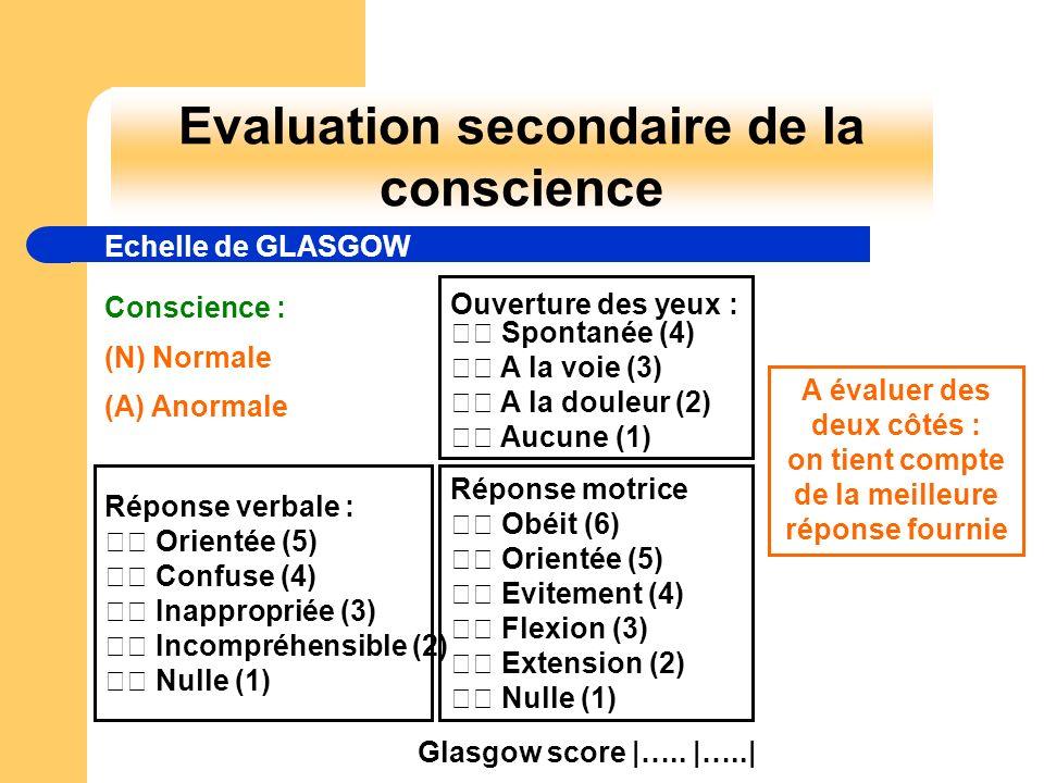 Evaluation secondaire de la conscience Echelle de GLASGOW Conscience : (N) Normale (A) Anormale Ouverture des yeux : Spontanée (4) A la voie (3) A la