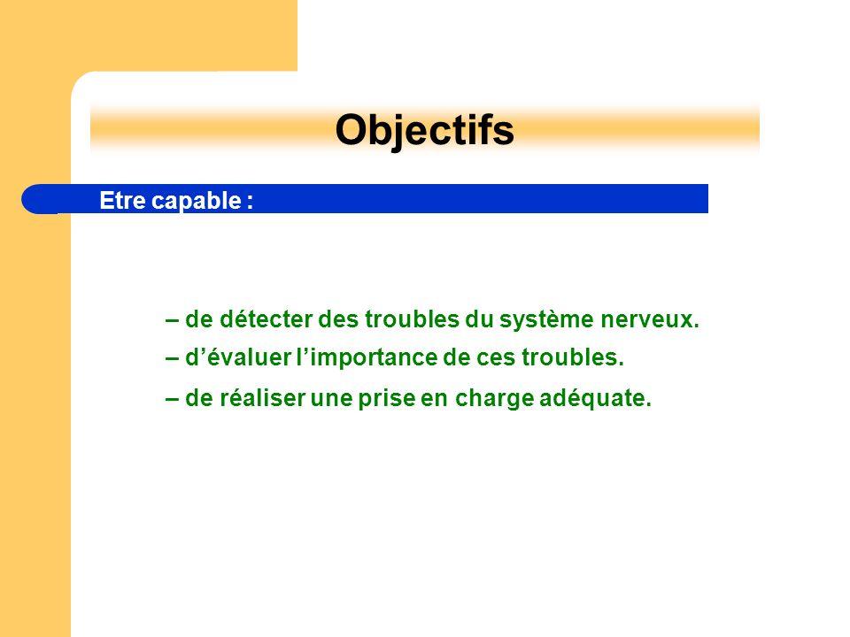 – de réaliser une prise en charge adéquate. Objectifs Etre capable : – de détecter des troubles du système nerveux. – dévaluer limportance de ces trou