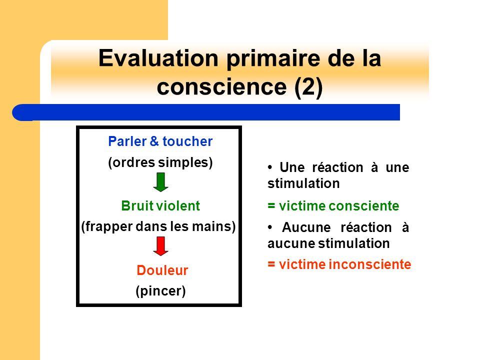 Evaluation primaire de la conscience (2) Parler & toucher (ordres simples) (frapper dans les mains) Bruit violent Douleur (pincer) Une réaction à une