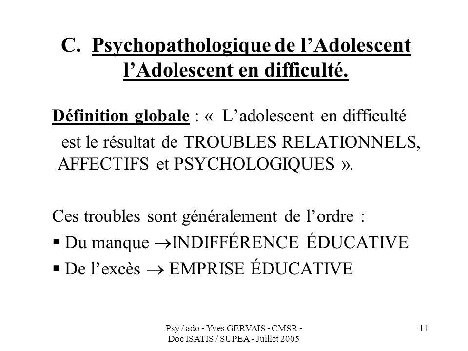 Psy / ado - Yves GERVAIS - CMSR - Doc ISATIS / SUPEA - Juillet 2005 11 C. Psychopathologique de lAdolescent lAdolescent en difficulté. Définition glob