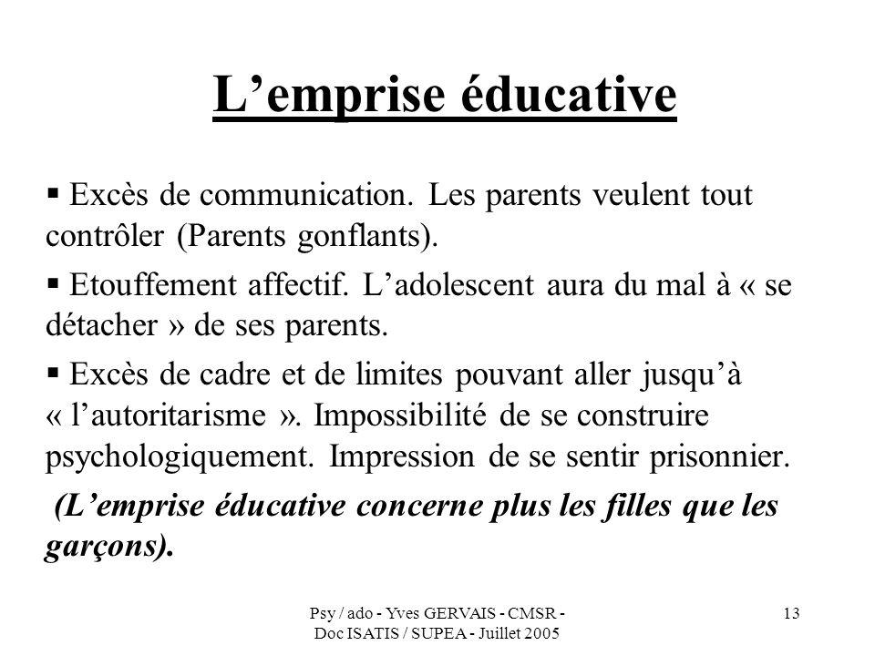 Psy / ado - Yves GERVAIS - CMSR - Doc ISATIS / SUPEA - Juillet 2005 13 Lemprise éducative Excès de communication. Les parents veulent tout contrôler (