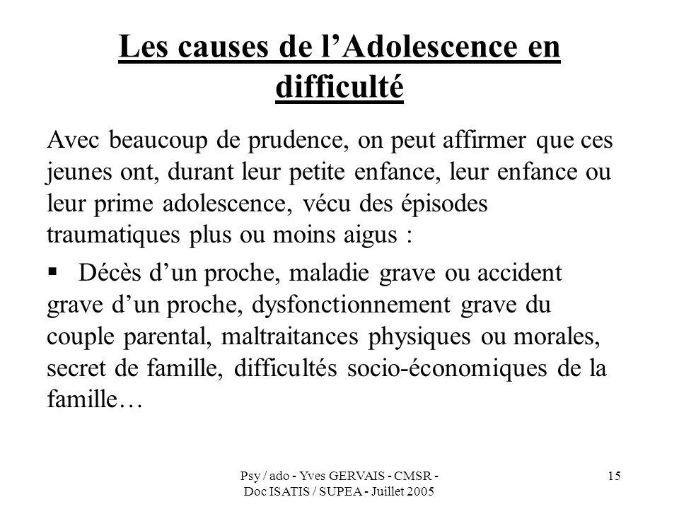 Psy / ado - Yves GERVAIS - CMSR - Doc ISATIS / SUPEA - Juillet 2005 15 Les causes de lAdolescence en difficulté Avec beaucoup de prudence, on peut aff