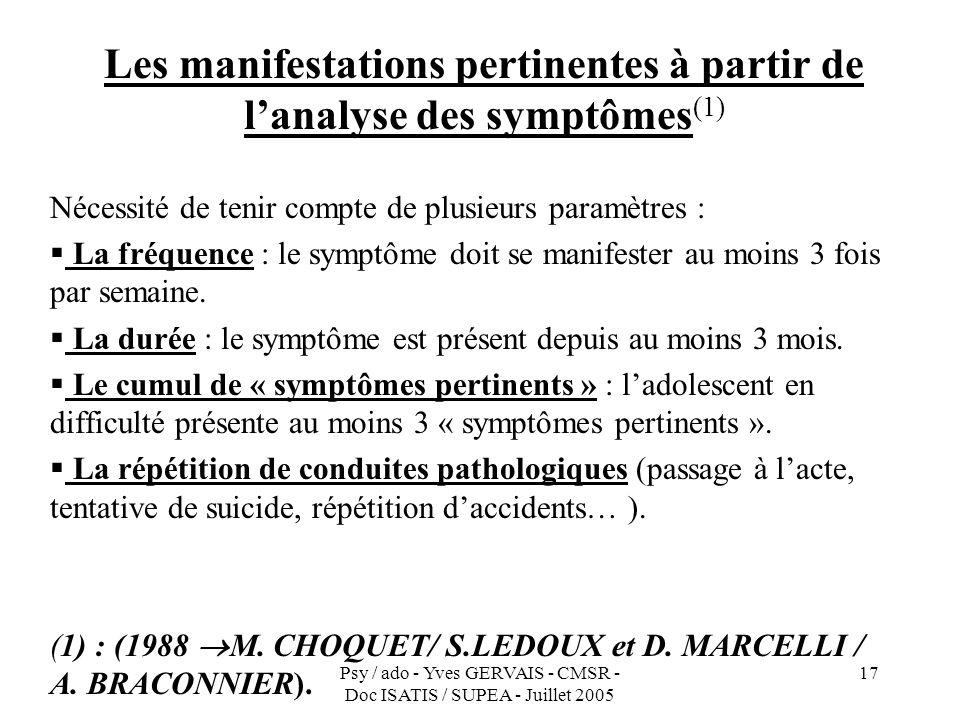 Psy / ado - Yves GERVAIS - CMSR - Doc ISATIS / SUPEA - Juillet 2005 17 Les manifestations pertinentes à partir de lanalyse des symptômes (1) Nécessité