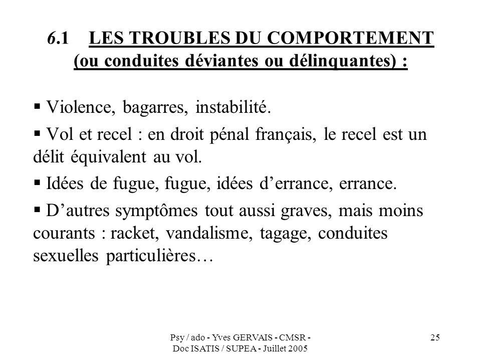 Psy / ado - Yves GERVAIS - CMSR - Doc ISATIS / SUPEA - Juillet 2005 25 6.1 LES TROUBLES DU COMPORTEMENT (ou conduites déviantes ou délinquantes) : Vio