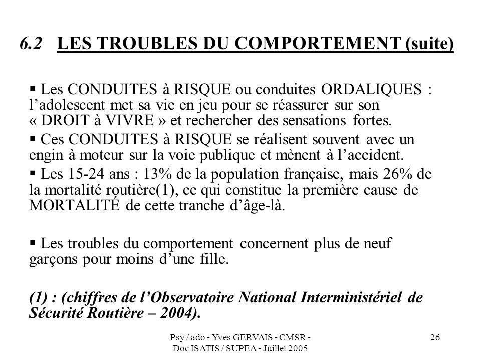 Psy / ado - Yves GERVAIS - CMSR - Doc ISATIS / SUPEA - Juillet 2005 26 6.2 LES TROUBLES DU COMPORTEMENT (suite) Les CONDUITES à RISQUE ou conduites OR