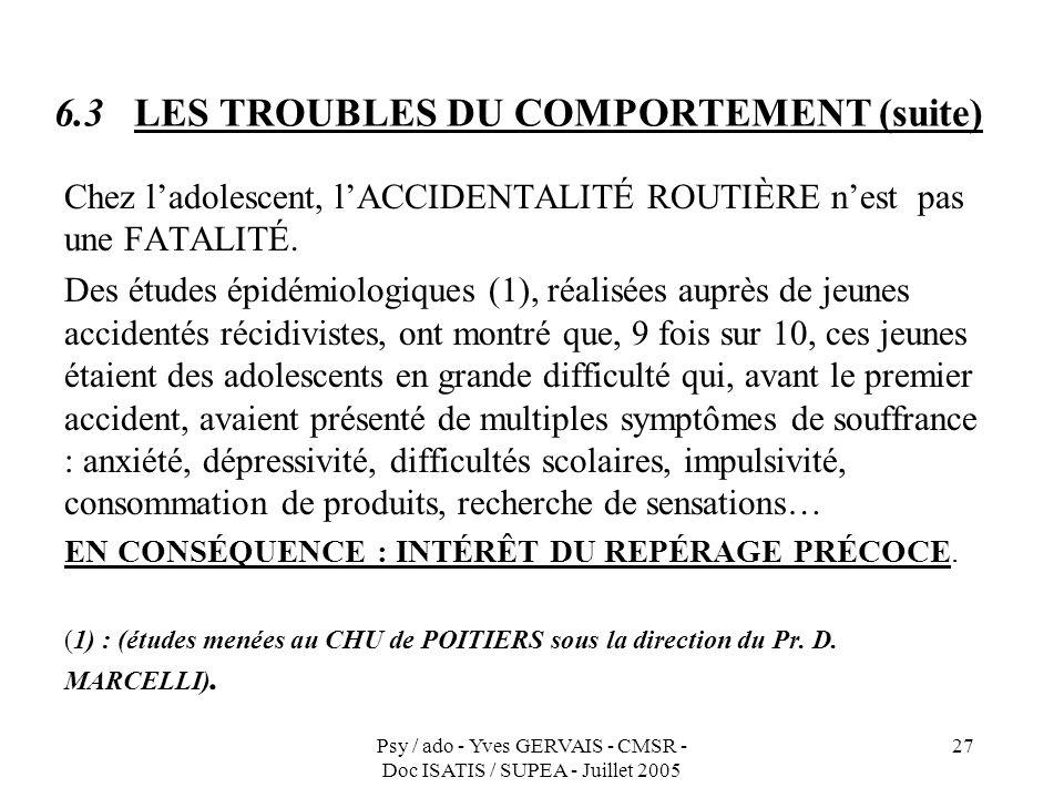 Psy / ado - Yves GERVAIS - CMSR - Doc ISATIS / SUPEA - Juillet 2005 27 6.3 LES TROUBLES DU COMPORTEMENT (suite) Chez ladolescent, lACCIDENTALITÉ ROUTI