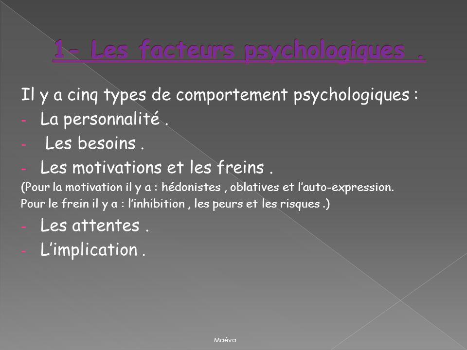 Il y a cinq types de comportement psychologiques : - La personnalité. - Les besoins. - Les motivations et les freins. (Pour la motivation il y a : héd