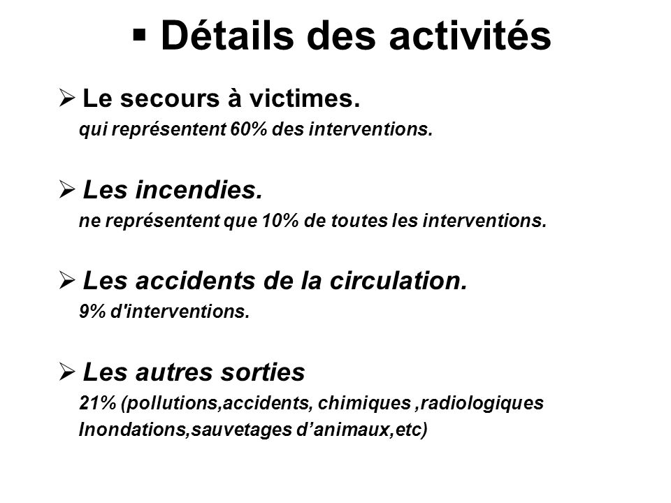 Détails des activités Le secours à victimes.qui représentent 60% des interventions.