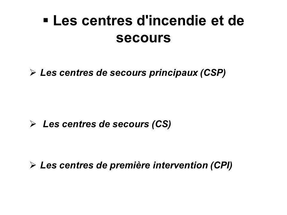 Les centres d incendie et de secours Les centres de secours principaux (CSP) Les centres de secours (CS) Les centres de première intervention (CPI)