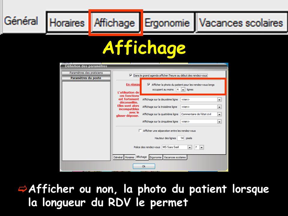Affichage Afficher ou non, la photo du patient lorsque la longueur du RDV le permet