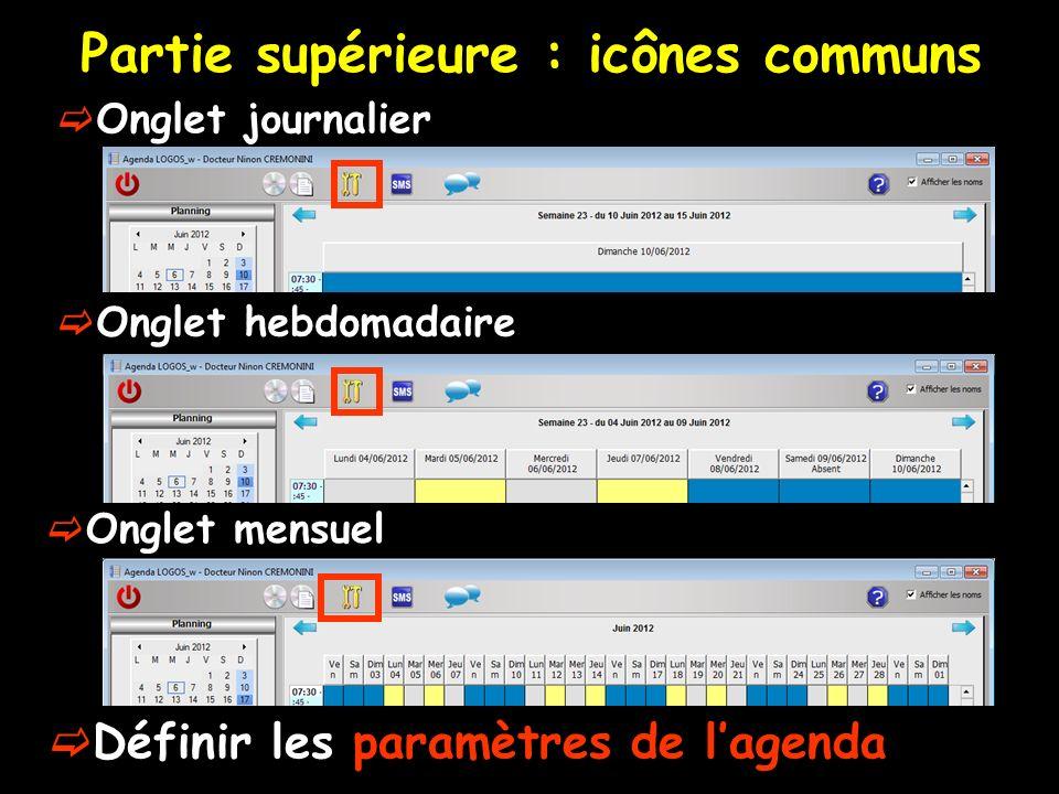 Partie supérieure : icônes communs Onglet journalier Onglet hebdomadaire Définir les paramètres de lagenda Onglet mensuel